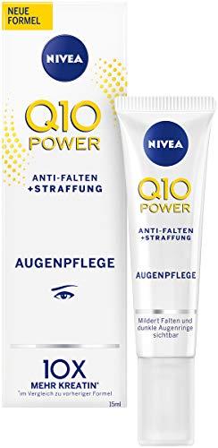 NIVEA Q10 Power Anti-Falten + Straffung Augenpflege für jünger aussehende Haut im 2er Pack (2x 15 ml), feuchtigkeitsspendende Augencreme, Creme für normale Haut