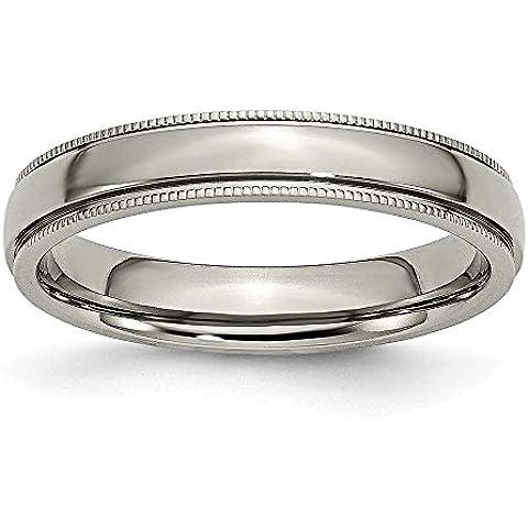 In titanio con scanalature con perline 4mm lucido anello a fascia, misura Q 1/2 - Anello Lucido