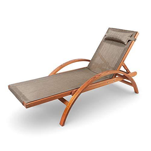 Ampel 24 Liegestuhl Caribic, verstellbare Rückenlehne, Sonnenliege mit Armlehnen, Gartenmöbel aus vorbehandeltem Holz, wetterfeste Gartenliege