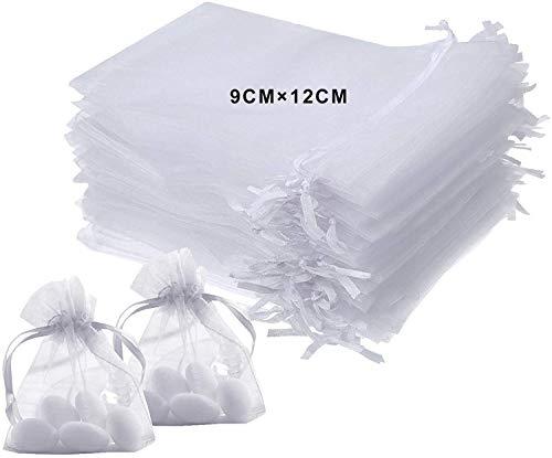 Lurico 100 pezzi sacchetti regalo in organza 9x12cm bianco bustina organza portaconfetti per nozze regalo caramella partito gioielli