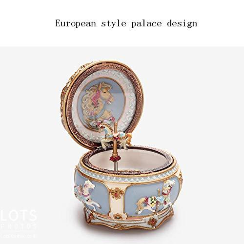 L@LILI Style européen carrousel Music Box, Creative Clockwork coloré lumière résine Manuel Sculpture Artisanat Cadeau