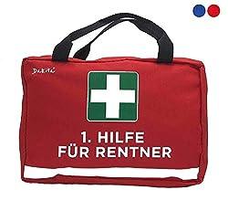 Dakita 1. Hilfe Tasche zur Rente - 28x18x8cm groß | Lustiges Geschenk zum Ruhestand Abschied für Kollegen | Ideales Abschiedsgeschenk für Rentner zum Renteneintritt (rot, ohne Inhalt)