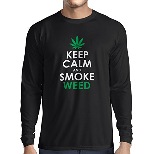 Camiseta de Manga Larga para Hombre Mantener la calma y humo - hoja de marihuana (XX-Large Negro Fluorescente)