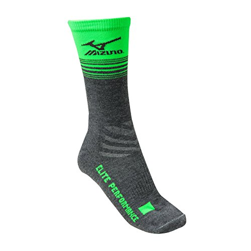 Mizuno Elite Retro Crew Socke, Unisex - Erwachsene, Heathered Grey/Electric Green, Medium