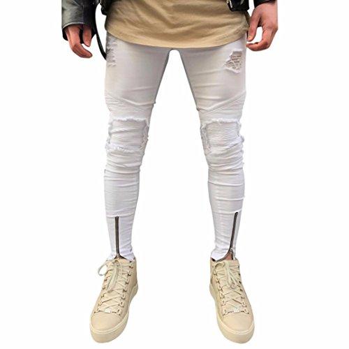 OVERDOSE Mode Homme Jean Motard Super Skinny avec Déchirures aux Genoux, Sexy Slim Cargo Trousers (30, Blanc)