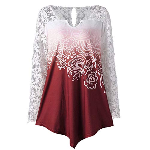 LEXUPE Women Tops Summer Comfortable Cool T Shirts Casual Fashion Blouses Ladies Printing Lace Shirt Long Sleeve Shirt Casual Tops Ladies Blouse(Red,