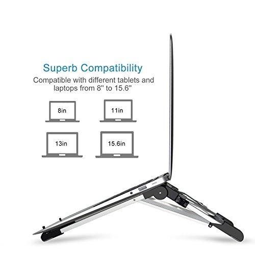 = Megainvo Supporto Computer, Supporto Computer Portatile Alluminio fino a 15.6 Pollici 3 in 1 per Phone, Tablet, Laptop, Book, iPad, Notebook recensioni dei consumatori