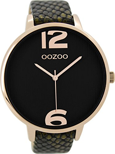 Oozoo flache große Damenuhr mit schwarzem Lederband im Eidechs Design 47.5 MM Rosevergoldet schwarzes Zifferblatt C9244