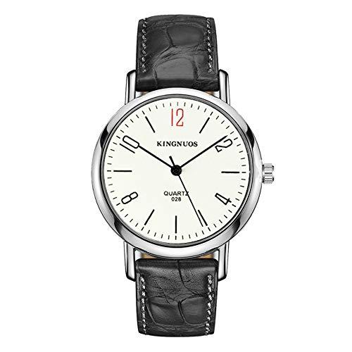 Herrenuhren Ultradünnes Edelstahl-Zifferblatt mit Ziffernskalen Quarzwerk Armbanduhren für Unisex Lederband Minimalist, Schwarz-Weiß