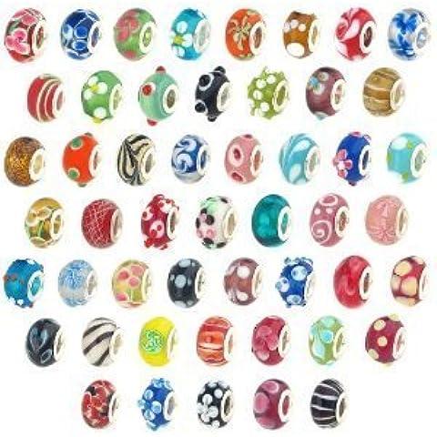 haahaha Lot perline miste in vetro di Murano, compatibile con la maggior parte dei braccialetti (50pezzi)