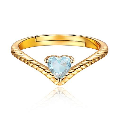 12 Monate Geburtstagsserie Mär Aquamarin, Damen-Ring Herz Glas Weiß echt Silber Sterling 925