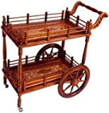 Crafts A To Z Wood Wine Service Trolley, Service Trolley Hand-Carved Wooden Service For Home & Kitchen / Bar Trolley