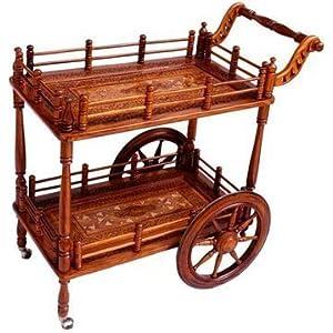 Artesia Designer Wooden Service Trolley/Bar Trolley/Kitchen Trolley, Brown