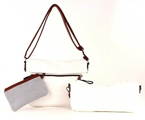 Maestro Twinbag 1 borsa a tracolla 30 cm Bianco / Cognac