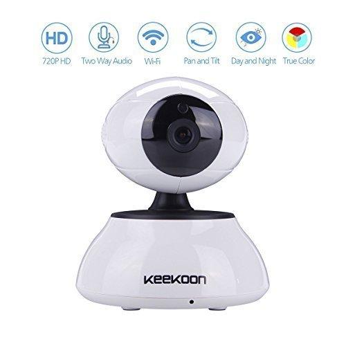Keekoon wireless/wired day/night ip camera wifi, h.264, visore notturno, pan 345 °, inclinazione 90 °, slot micro sd, rilevatore movimenti, notifiche push per iphone/ipad/smartphone bianco