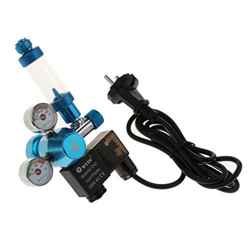 perfk Aquarium Doppelmesser CO2 Druckminderer Druckregler mit Rückschlagventil und Blasenzähler -