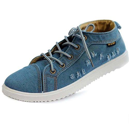 Men's Cowboy Non Slip Breathable Canvas Shoes Jeans Blue For Low