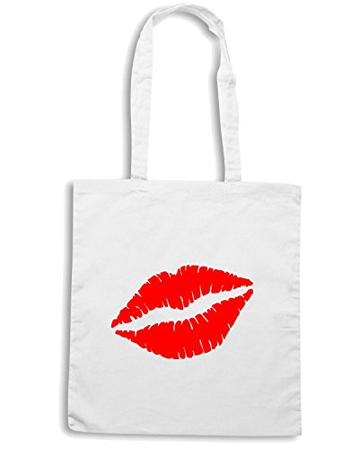T-Shirtshock - Borsa Shopping FUN0357 374 lips vinyl decal 57767 Bianco