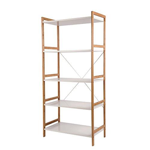 Regal Standregal Wandregal mit 5 Ablagen für Bücher und Decoartikeln – stilvoller Möbel für Wohnzimmer Büro etc.
