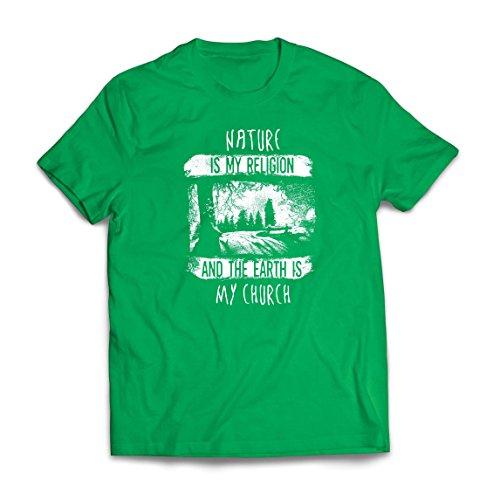 lepni.me Camisetas Hombre La Naturaleza ES Mi Religión y La Tierra ES Mi Iglesia: Al Aire Libre, Camping, Amante de La Aventura (Small Verde Multicolor)