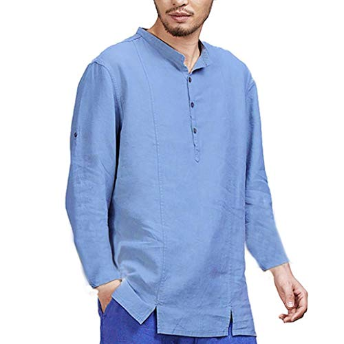 BaZhaHei Männer O Neck Mens Cotton Leinen Shirts Casual Long Sleeve Stand Hals Tops lose Bluse...