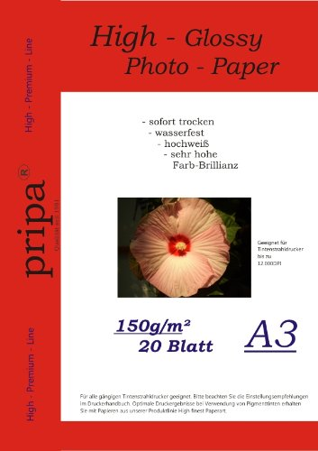 pripa-photo-paper-din-a3-150g-sqm-glossy-dries-immediately-waterproof-very-high-photo-brilliance-for