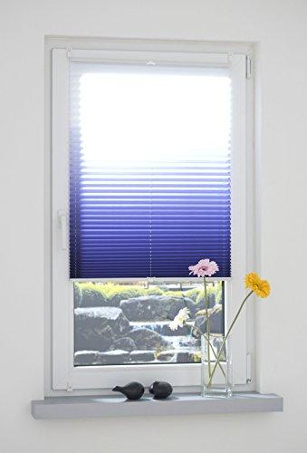 Liedeco® Klemmfix Plissee Farbverlauf verspannt inkl. Klemmträger /Breite x Höhe: 75 x 130 cm / Farbe: Blau / Plissee farbig zum Klemmen fürs Fenster / Sonnenschutz und Fensterdekoration innen / lichtdurchlässig und verstellbar / Innen-Montage ohne Bohren / 123 montiert / Falt-Plissee / Plissee-Rollo Sichtschutz Blendschutz - 2