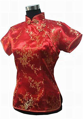 Kidly Sommer Frauen Freizeithemd Silk Satin Bluse Chinesischen Nationalen Blumenkleidung Rot A S