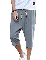 97bfeae81c Pantalon 3/4 pour Homme, Mode Solide Couleur Taille Moyenne Loose Fit  Sarouel avec