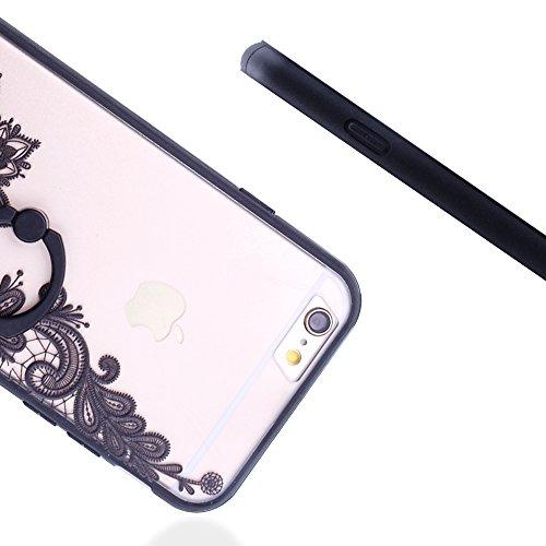 """iProtect Hardcase mit Ring Halter Marmor Design Schutzhülle in Schwarz mit Fingerhalterung für Apple iPhone 6 6s (4,7"""") Lotusblüte"""