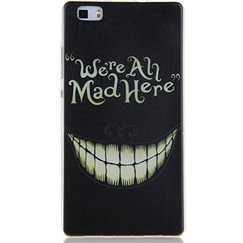 iPhone 5C Hülle, iPhone 5C Case [Scratch-Resistant], ISAKEN iPhone 5C Ultra Slim Perfect Fit Designed Muster Malerei TPU Transparent Protective back Hülle Hüllen Beschützer Haut Case Tasche Schutz Etu Schwarz Zahn We're All Mad Here