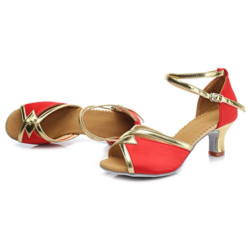 HROYL Damen Tanzschuhe/Latin Dance Schuhe Satin Ballsaal Modell-D7-225 5CM Rot