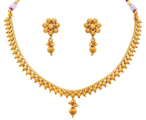 Jfl - Jewellery For Less Traditional Ethnic One Gram Gold Plated Delicate Necklace Set / Jewellery Set For Women