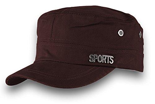 HOMME FEMME Militaire Casquette de Baseball Cap Sport Bonnet Chapeau Snapback JM (Brown)