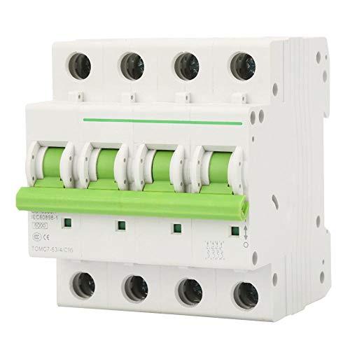 Interruttori Magnetotermici,AC 380 V/ 415 V Interruttore Automatico a 4 Poli/Interruttore di Dispersione/C-type 6KA Interruttori Miniaturizzati 6A / 10A / 16A / 20A / 25A (opzionale)(16A)