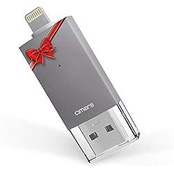 Omars Clé USB iPhone 32Go [Certifié Apple MFi] Clef USB 3.0 Mémoire Stick à l'Extension de Stockage pour iPhone 6/6S 6Plus/6S Plus 7/7 Plus SE/5/5S/5C iPad Pro Air/Air 2 Mini 2/3/4 iPod Touch Gris