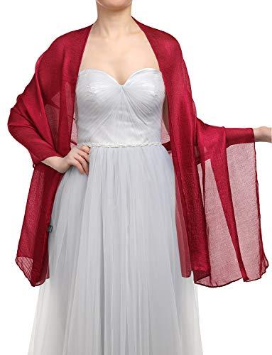 GardenWed Damen Glitzerschal Scarves Stola 70 * 180CM Sommer Tuch Stolen für Kleider in 22 Farben Dark Red