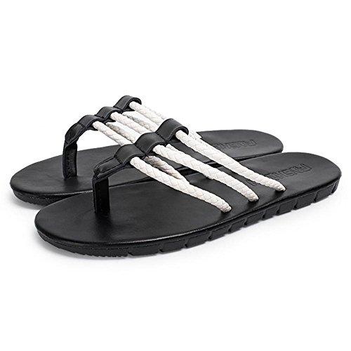SHANGXIAN Pantoffeln Flip Flops Sommer Canvas Outdoor flach geflochten Fersenriemen schwarz braun Upstream Herrenschuhe Black