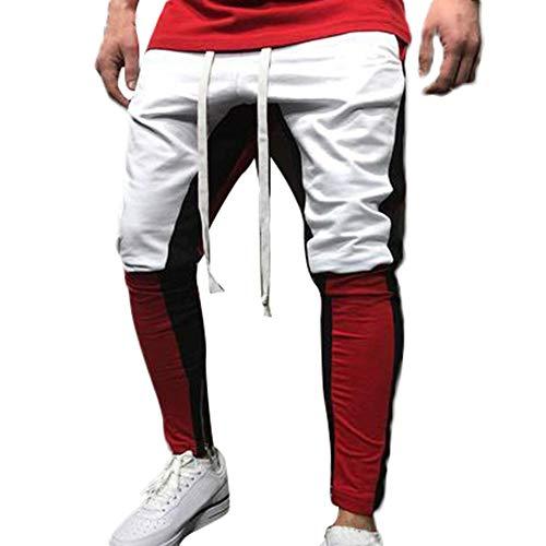 Pantalones Deportivos para Hombre-BBestseller Cómodo Personalidad Costura Sweatpants Chándal para Gimnasio GóticoSteampunk...