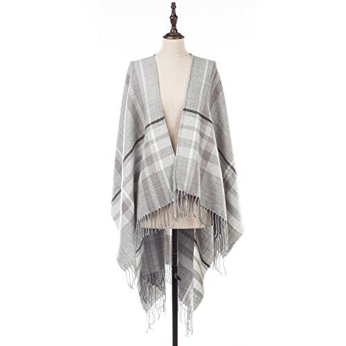 Natural Feelings Weiche Fancy Decke Frauen Gestreift Quaste Schal Wrap Schal Jaquard-wrap