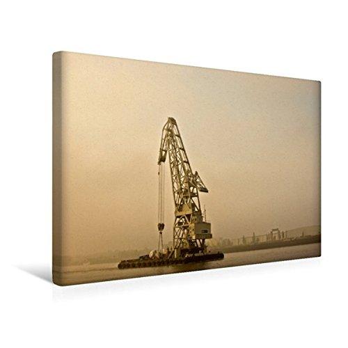 Premium Textil-Leinwand 45 cm x 30 cm quer, Schwimmkran im Morgendunst. | Wandbild, Bild auf Keilrahmen, Fertigbild auf echter Leinwand, Leinwanddruck (CALVENDO Mobilitaet)