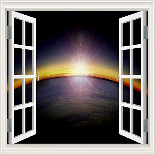 ZRSCL 3D Fenster Ansicht Planet Galaxy Tapete Weltraum Wandtattoos Aufkleber Wohnkultur Wohnzimmer Tapeten Wandkunst wand poster80CMX120CM
