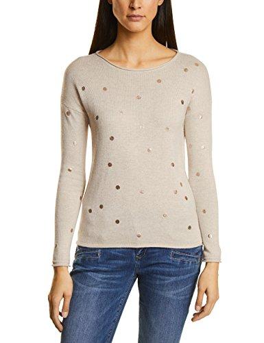 Gerollte Arme (Street One Damen Pullover 300476, Beige (Creamy White Melange 21158), 44)