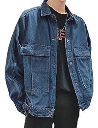 WQ&EnergyMen Men Plus Size Loose Fit Cowboy Big Pockets Botton Front Jean Coat