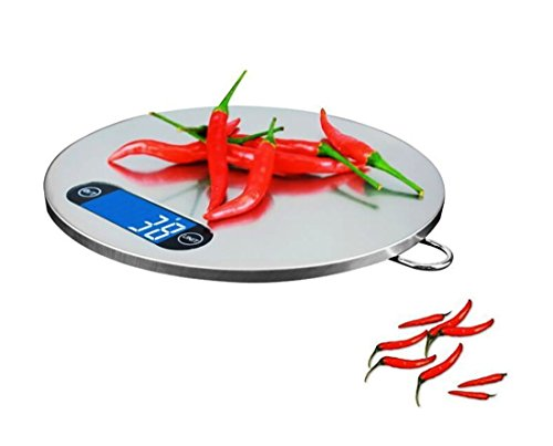 Webat Digitale Küchenwaage, Digitalwaage 5kg/1g, Hochpräzisionswaage mit Tara-Funktion, 4 Wiegeeinheiten (g/lbs/ml/FL), LCD-Display, Edelstahl-Rundfläche
