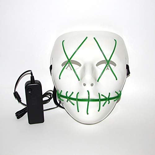 XBCC Mask Light up Halloween Flashing Cosplay Glow Scary LED Carnival Mask Costume EL Wire Grimace Mask Decorative In Dark - Dark Green