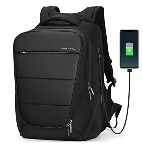 Men\'s Business Backpack,17-Zoll-Laptop-Rucksack für Männer mit USB-Ladeanschluss Wasserdichter Business-Rucksack School Large College Slim Computer-Tasche Work DaypackUnisex Unisex-black-onesize