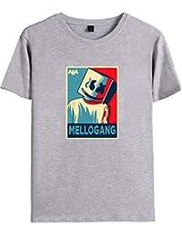 FLYCHEN Camiseta para Niños con Motivo Marshmello DJ Música Electrónica Keyboard de Color Sólido Manga Corta Boy\'s T-Shirt Casual