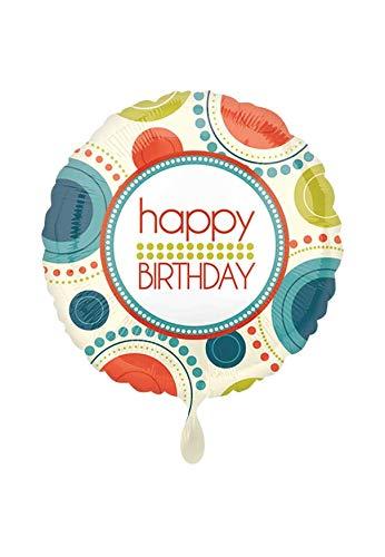 Party Factory Folienballon - Ø 45cm - Happy Birthday Retro Style