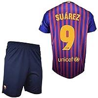 Conjunto Camiseta y Pantalon 1ª Equipación 2018-2019 FC. Barcelona - Réplica Oficial Licenciado - Dorsal 9 Suarez - NiñoTalla 6 años - Medidas Pecho 34.5 - Largo Total 49 - Largo Manga 15 cm.